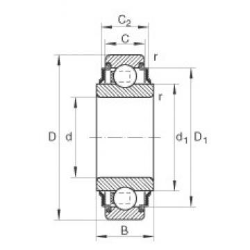 55 mm x 100 mm x 36 mm  INA 211-KRR Cojinetes de bolas profundas